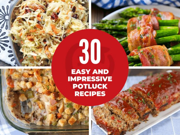 collage of potluck recipe ideas