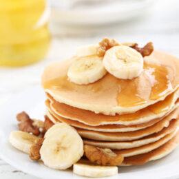 Stack of banana nut pancakes