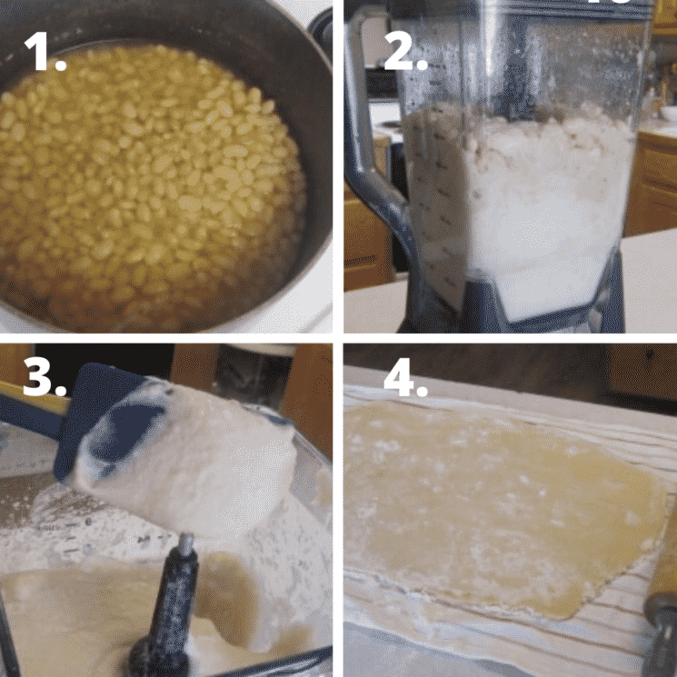 collage of steps for cooking and pureeing beans and turning them into cookie dough