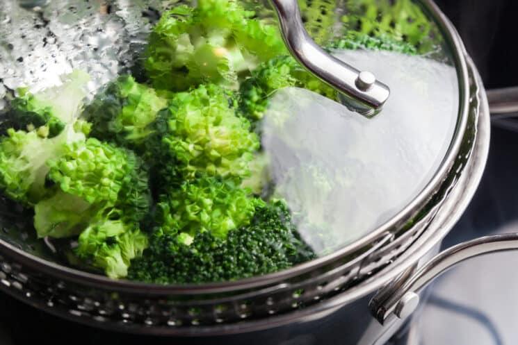 broccoli in a steamer pot