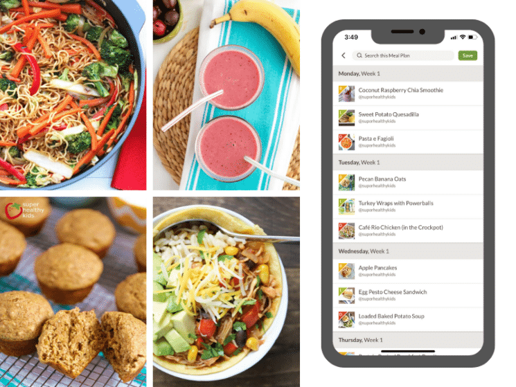 meal planning app shown on an iphone beside several healthy recipes