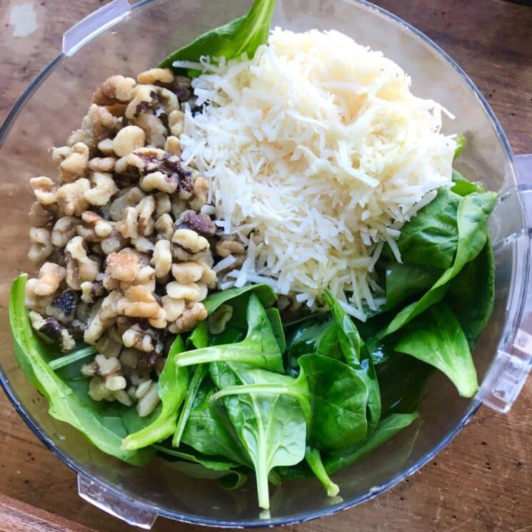 spinach, walnuts, and cheese in a  food processor