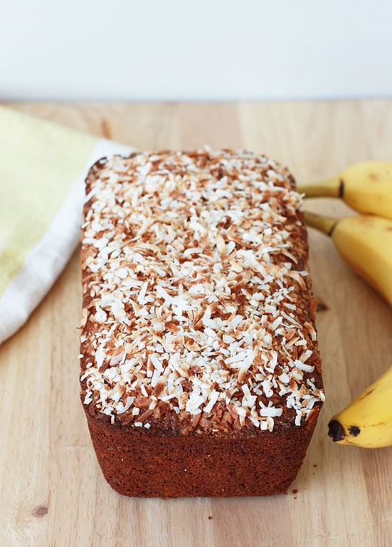 Coconut Banana Bread Loaf with toasted coconut on top