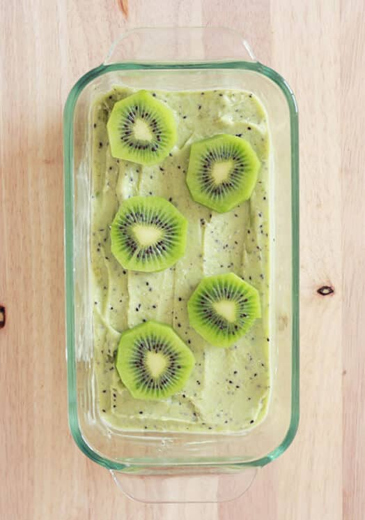 Kiwi Sorbet in a dish with kiwi slices on top