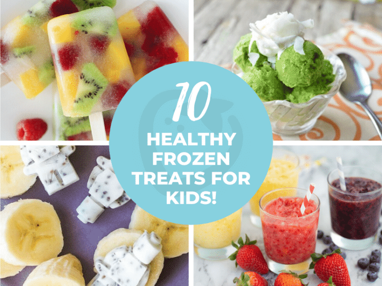 collage of healthy frozen treats