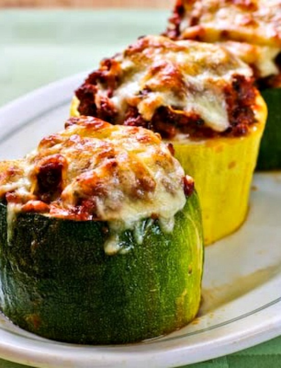 stuffed zucchini pieces with melted mozzarella on top