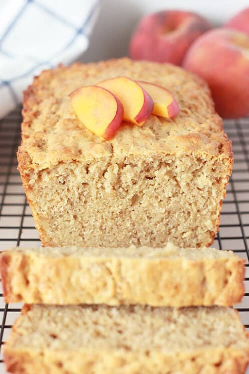 Peach Crisp bread with two slices and peaches on top