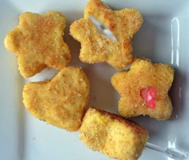 close up chicken nuggets in fun shapes