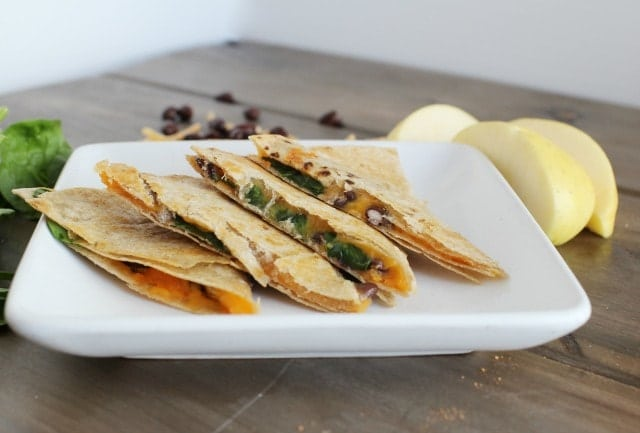 sweet potato black bean quesadillas on a place