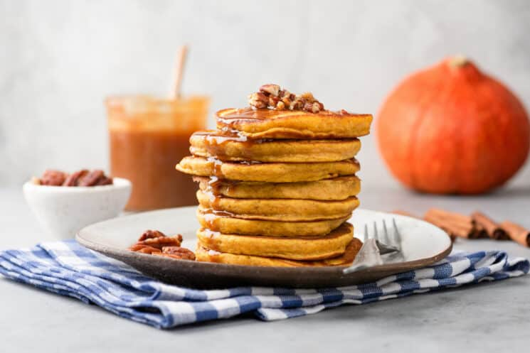 pumpkin pancakes with caramel syrup