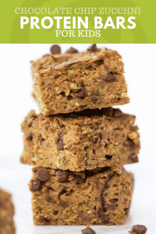 stacked chocolate chip zucchini protein bars with text on top