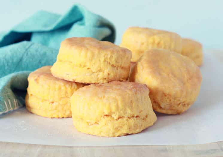 sweet potato biscuits stacked in a pile