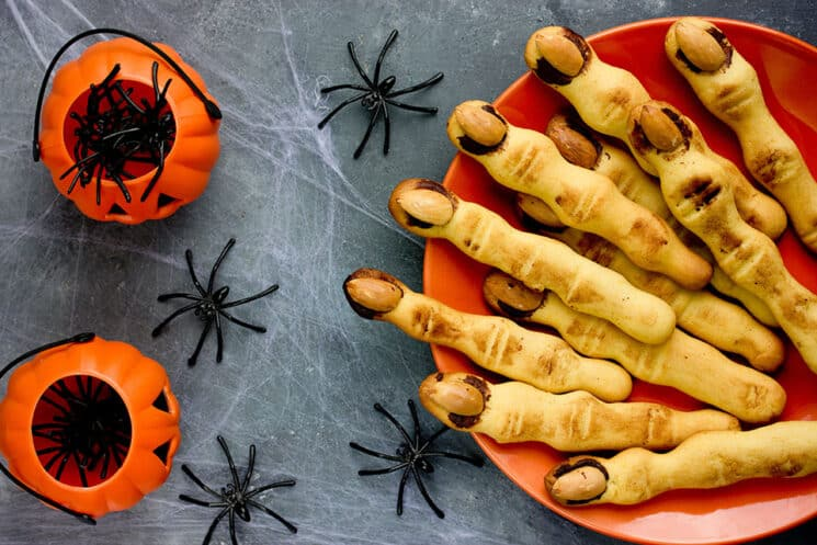 Halloween witch finger cookies for kids, funny recipe for Halloween party