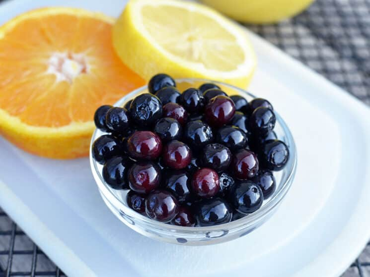 bowl of blueberries with orange slices behind it