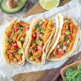 Crockpot Chicken Tacos with Avocado and Tomatoes