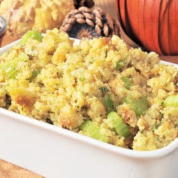 a baking dish of crockpot stuffing with celery