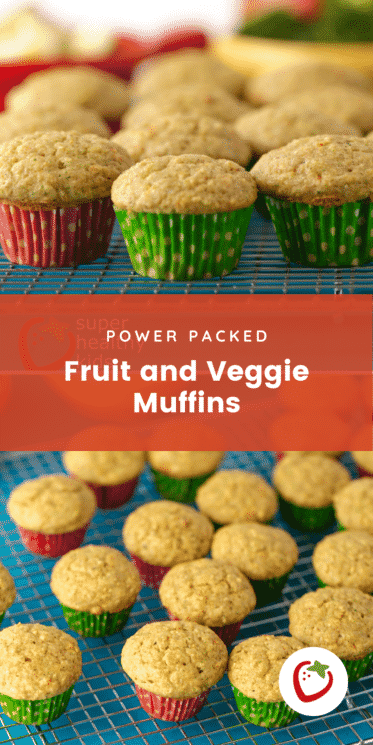 small fruit and veggie muffins with red and green muffin papers on a cooling rack with text for Pinterest
