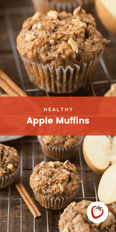 Two photos of apple muffins with text for Pinterest