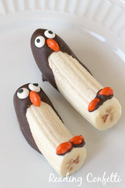 Banana half-dipped in chocolate to look like a penguin
