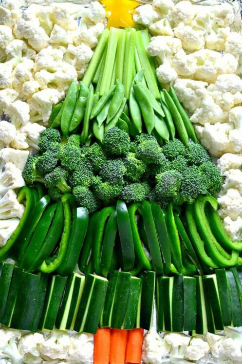 a christmas tree made of different green veggies