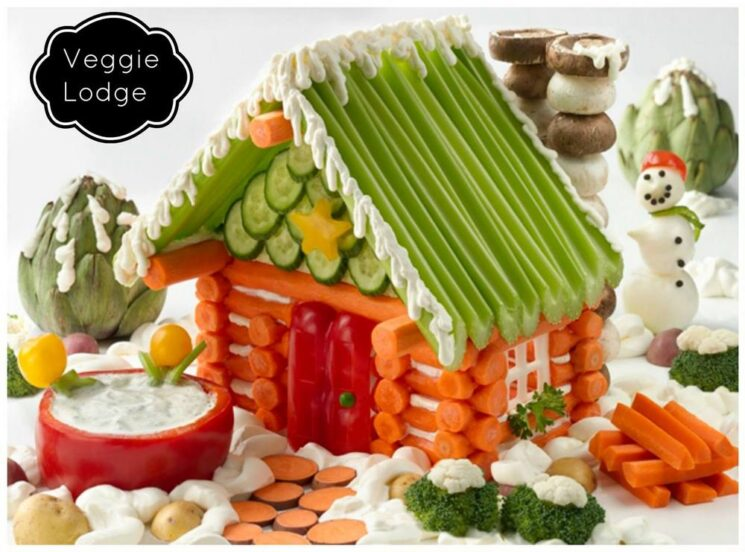 Little holiday house built from different sliced veggies
