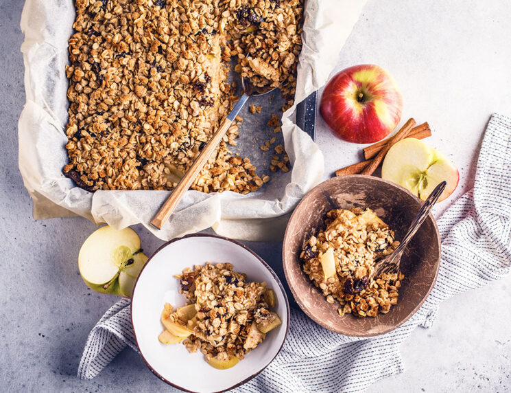 Apple and cinnamon baked oatmeal top view