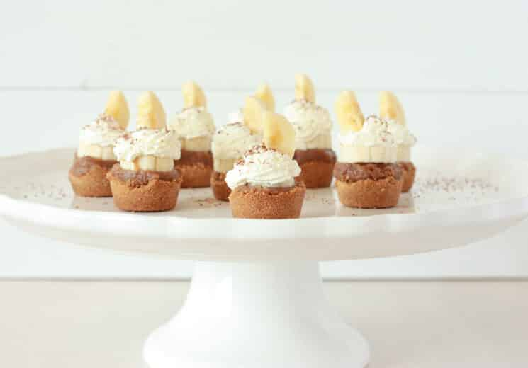 Banoffee pie bites on a white cake plate