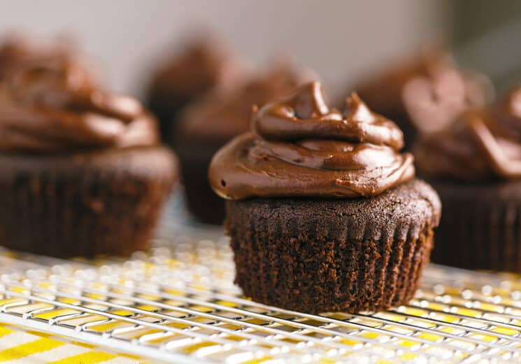 gluten free mini chocolate cupcake with chocolate frosting on cooling rack