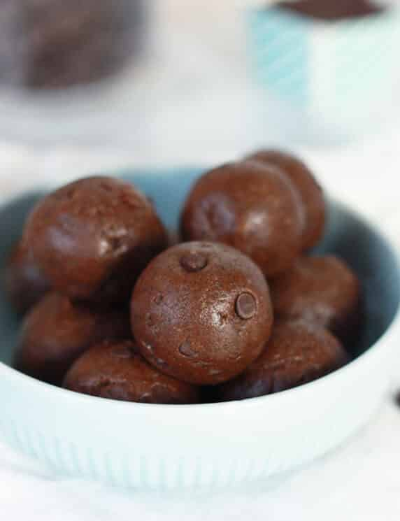 Brownie Batter Protein Bites in a blue bowl