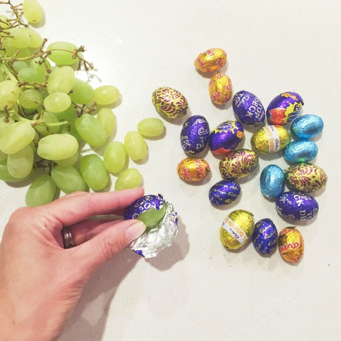 grapes wrapped in candy wrappers