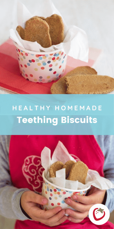 healthy homemade teething biscuits in a polka dot container
