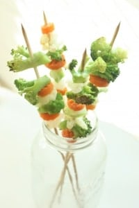 Roasted Veggie Kabobs. This is the perfect after school snack on a cold winter day.