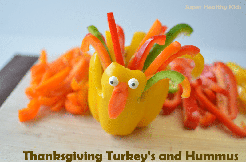 Thanksgiving Turkey Peppers and Hummus. It's never too early to start celebrating Thanksgiving!