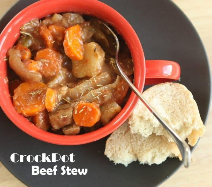 Crockpot Beef Stew. Get a head start on dinner with this delicious crock pot recipe!