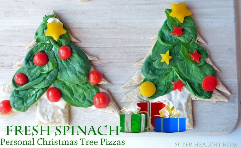 Fresh Spinach Personal Christmas Pizza Trees. Christmas is a week away...build anticipation with this festive meal!