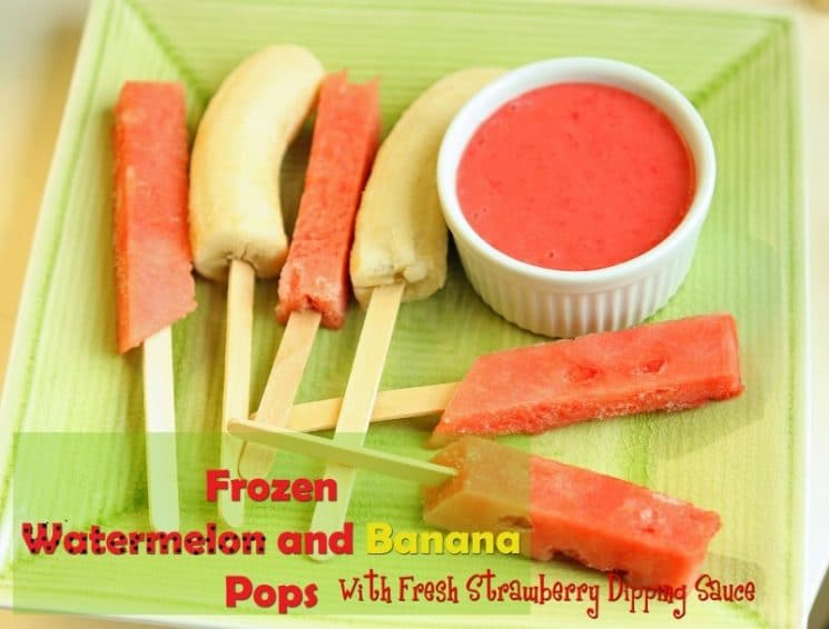 Frozen Watermelon and Banana Pops. Sometimes the most simple snack is the tastiest snack!