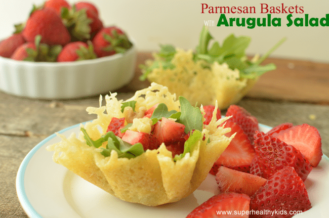 Why use a bowl for salad, when your kids can have an edible basket! Parmesan-Arugula-Baskets www.superhealthykids.com