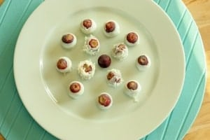 Frozen grapes, with a touch of yogurt!