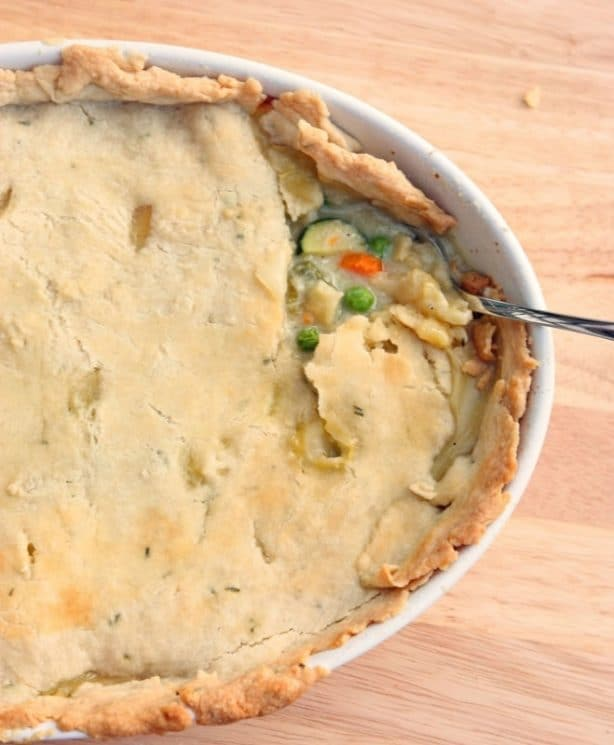 Freezer Pot Pie Recipe with Fresh Herb Crust. Double the recipe and make two pies! One for tonight, and one for the freezer.