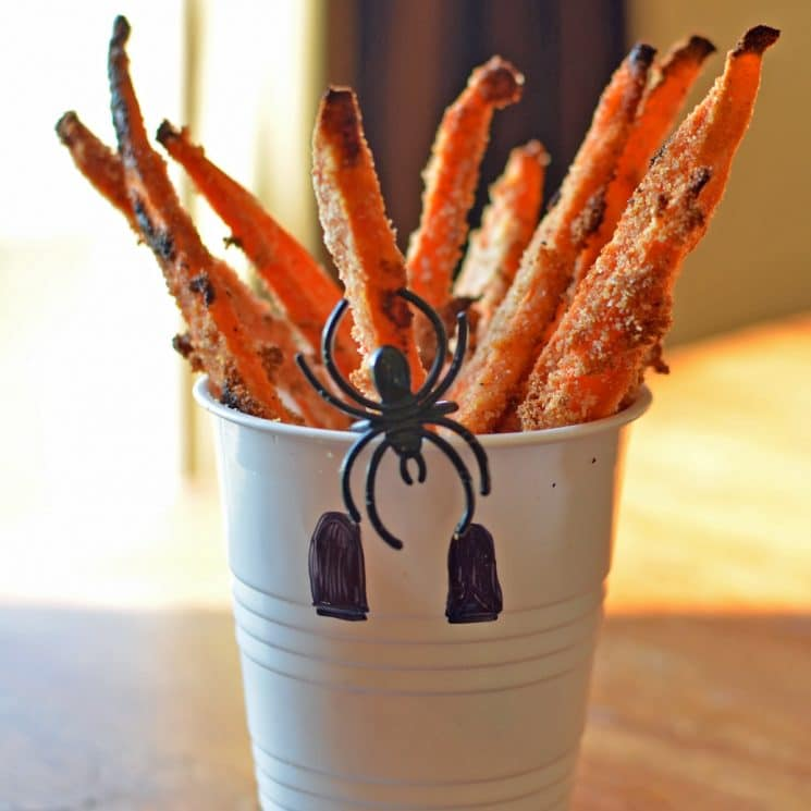 sweet potato fries decorated with halloween decor
