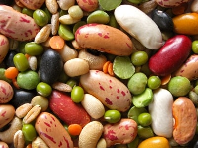 high fiber mixture of colorful beans