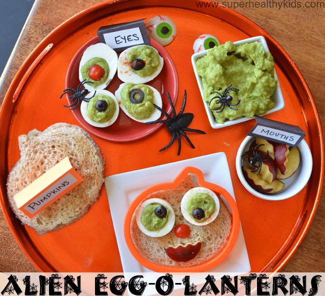 Alien Egg-O-Lantern Breakfast. We'll be having this for breakfast tomorrow! Happy Halloween!