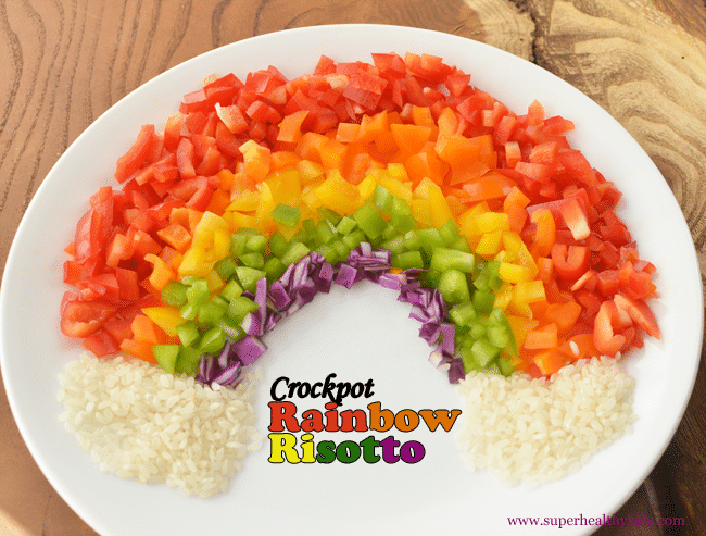 Crockpot Rainbow Risotto. Super cheesy side dish with a rainbow of veggies!