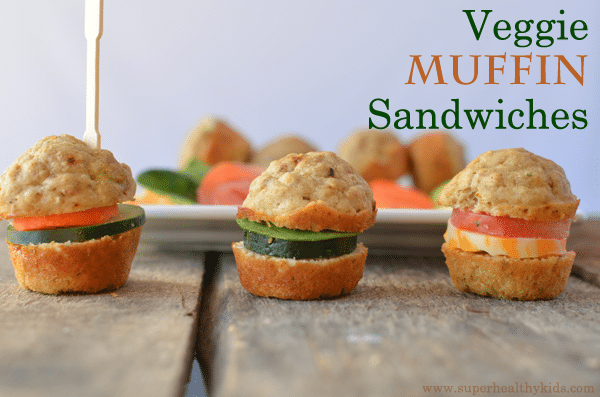 Mini Veggie Muffin Sandwiches Recipe. Clever sandwich idea!!