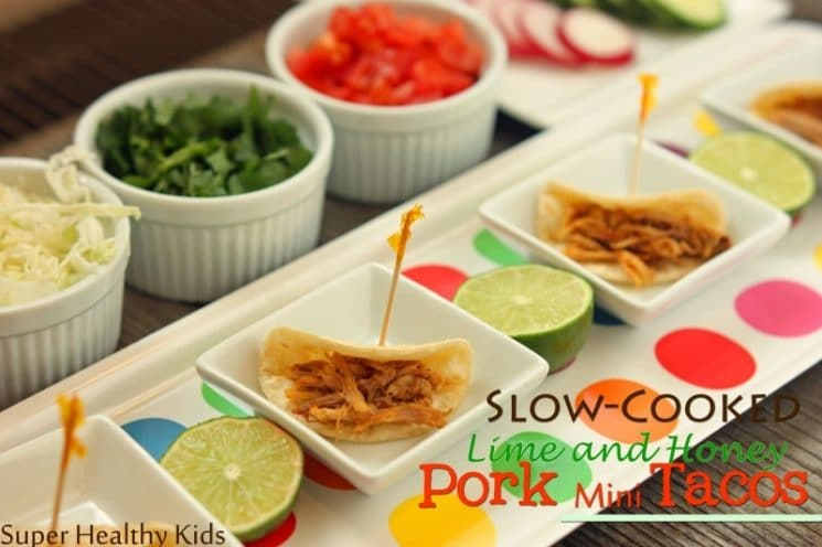 Slow Cooked Honey and Lime Pork Mini Taco Recipe. The lime and honey are a perfect combination for a sweet and tangy taco.