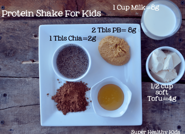 Chocolate Peanut Butter Protein Shake Recipe- For Kids! Contains natural ingredients that are good for kids.