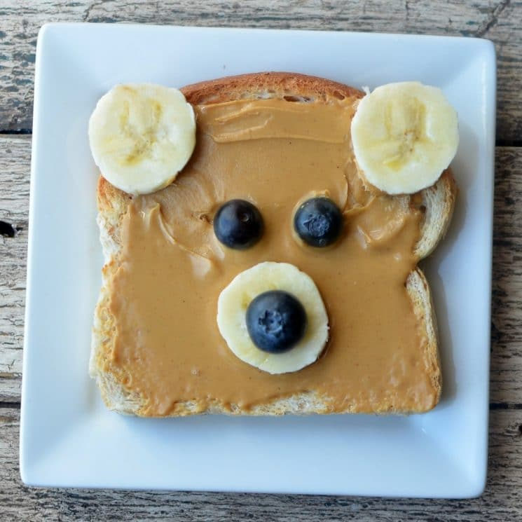 Peanut Butter Toast with Fruit Bear Face