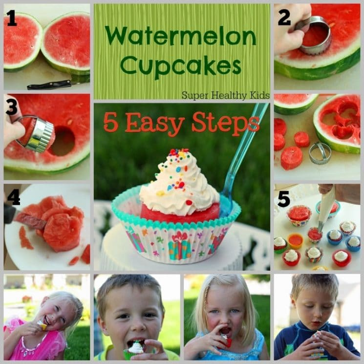 Watermelon Cupcakes Recipe. Fun way to serve our favorite summer fruit!