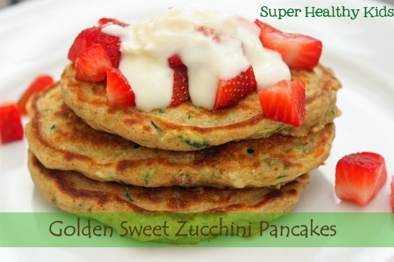 Golden Sweet Zucchini Pancakes. Pancakes with power! Did you know zucchini helps with blood sugar metabolism. This is great news for stabilizing moody kids!