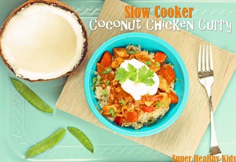 Slow Cooker Coconut Chicken Curry Recipe. Slow cooker meal! Perfect for a Sunday!